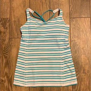 Lululemon tank, size 8, white and turquoise